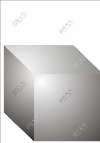 3D立体正方体渐变黑白高光矢量