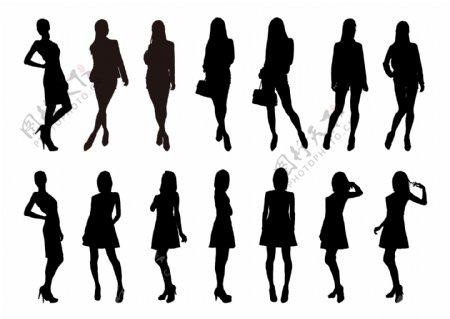 女人人物矢量剪影