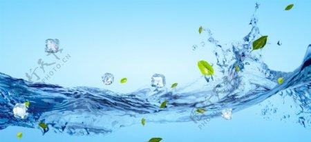 水水流冰块清爽夏季蓝色背景素材
