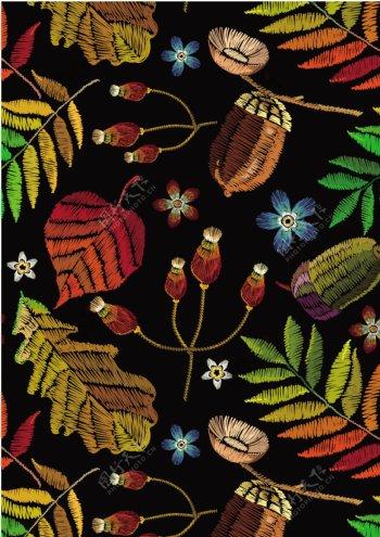 花卉绣花四方连续图案