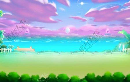动漫动画草地河流手绘背景