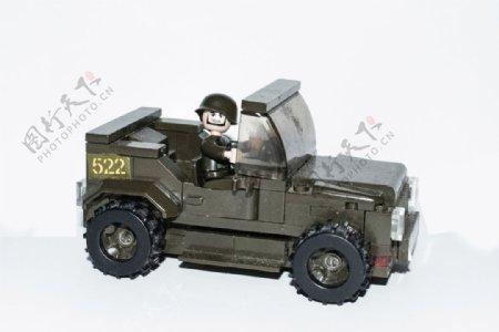 旧儿童玩具卡车兵哥哥军绿色模型