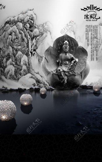 中国佛祖元素海报