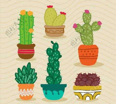 卡通植物盆栽矢量素材