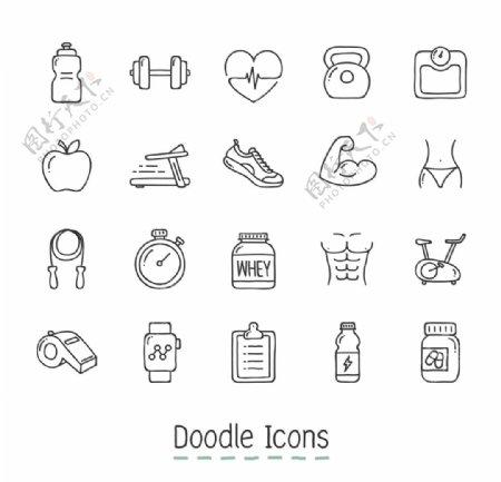 手绘线性锻炼运动icon图标