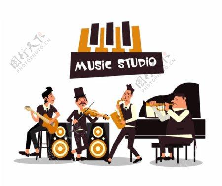 音乐工作室乐队人物矢量素材