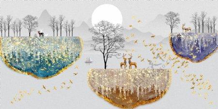 新中式鎏金金箔意境山水装饰画