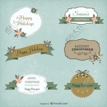 古典风格圣诞贴纸