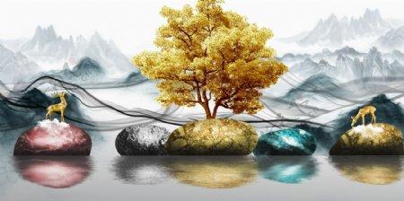 新中式意境山水大海石头装饰画