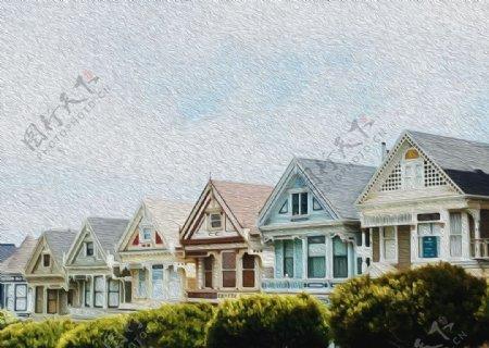 欧式风格房屋油画