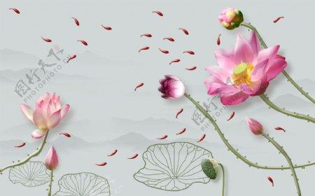 莲花荷花客厅装饰画