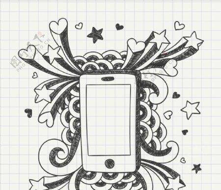 手工绘制手机笔记本纸