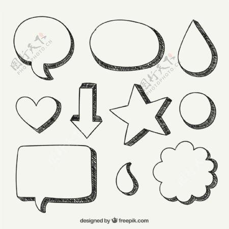 手工绘制泡沫言论和形状