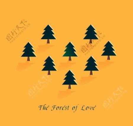 cdr矢量爱心森林素材背景