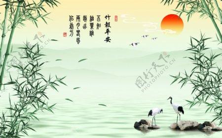 水墨山水竹子背景墙