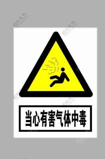 当心有害气体中毒标志