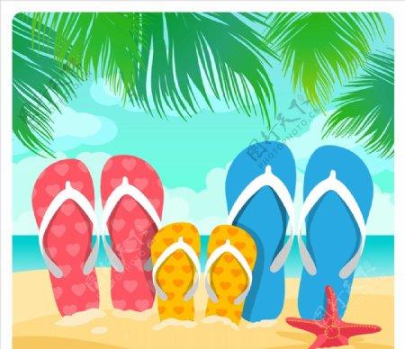沙滩上家庭凉鞋