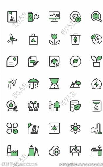 icon线性环保主题绿色图标