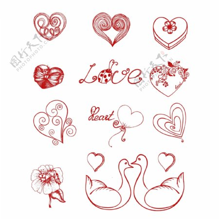 爱心情人节线描元素印花服装底纹
