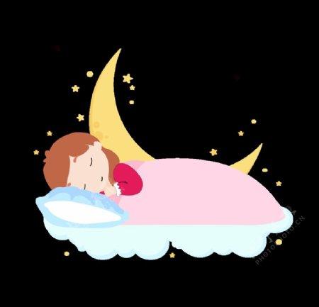矢量手绘卡通睡觉人物月亮