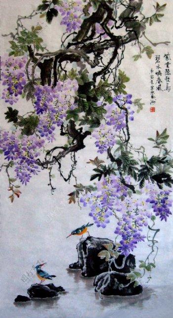 翠鸟油画紫色花