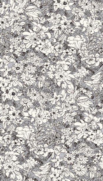 碎花黑白线条花
