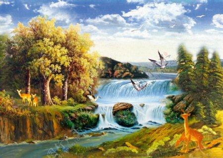 油画山水画瀑布枫树装饰画壁纸