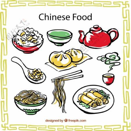 手工绘制中国食品