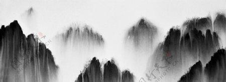 中国式泼墨山水云雾缭绕风景画图片
