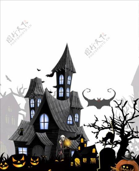 万圣节恐怖墓地城堡插图PSD图片