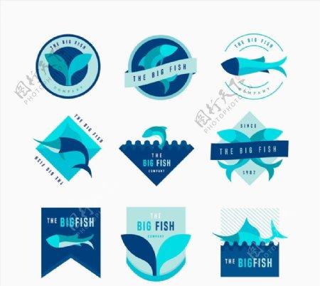 款蓝色鱼类标志图片