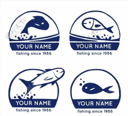 深蓝色鱼类标志图片