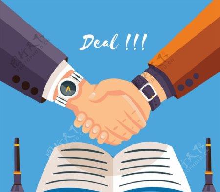 签订合同握手的手臂图片