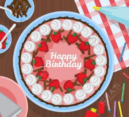 生日蛋糕俯视图图片