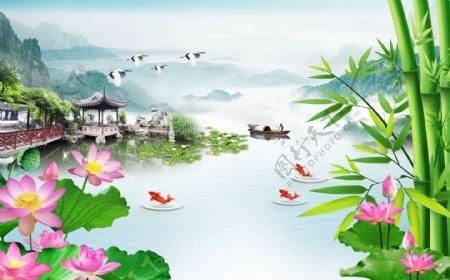 山水画竹子背景墙图片