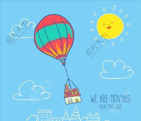 手工绘制热气球图片