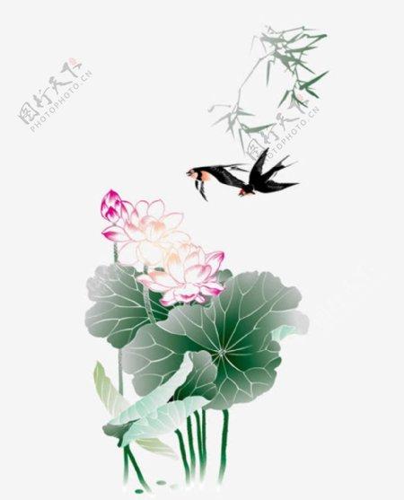 中国风荷花燕子装饰画图片