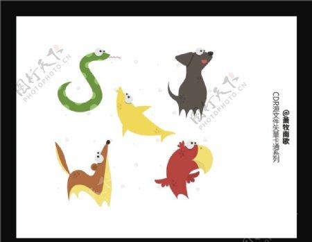 可爱动物CDR矢量图图片