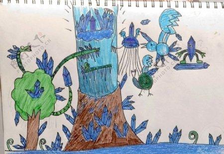 儿童画简笔画蓝色画钻石世界树图片
