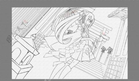 素描素材漫画人物卡通线条图片