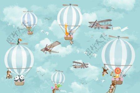 卡通气球复古飞机动物飞行彩绘图图片