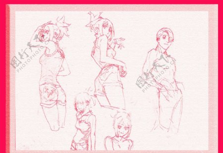线条男女素描素材漫画人物卡图片