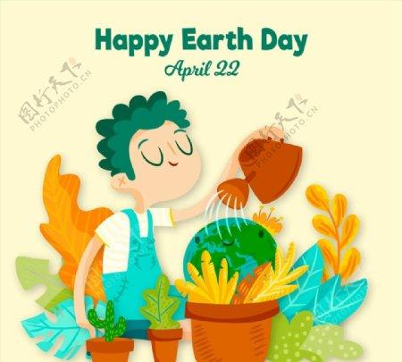 地球日浇花的男子图片