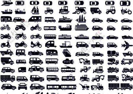 交通工具剪影图标图片