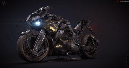 黑色摩托车交通工具背景图片
