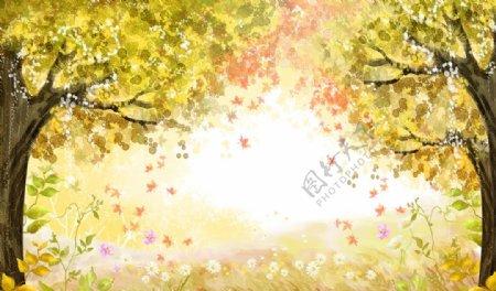油画枫叶枫树林图片