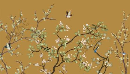 背景墙燕子梅花壁纸壁画图片