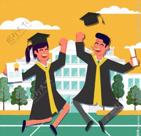 跳跃欢呼的毕业男女图片
