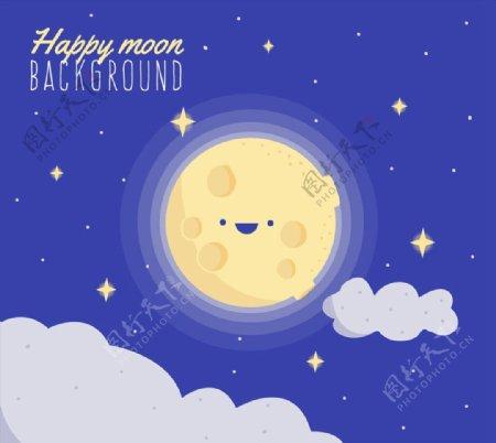彩绘可爱笑脸月亮图片