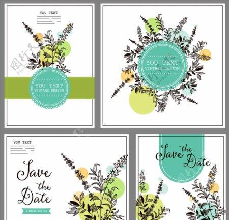 手绘花卉婚礼卡片图片